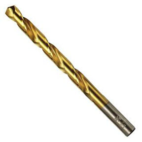 "Hanson 13/32"" Titanium Nitride Coated High Speed Steel Fractional Straight Shank Jobber Length Drill Bits - AHN-63926"