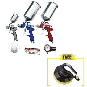"ATD Tools 9 pc. HVLP Spray Gun Set with 6"" Random Orbital Palm Sander ATD-6900COMBO"