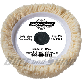 "Buff N' Shine 7.5"" Dia. x 1.25"" 100% 4-Ply Twisted Wool Grip Pad /w Centering Tee BFS-7502GT"
