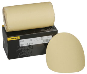 "Mirka Abrasives 6"" 80-Grit 23 Series Gold PSA Linkrol Disc, D-Weight Backing MRK-23-342-080"