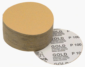 "Mirka Abrasives 6"" 320 Grit 100/Box Gold PSA Autobox Discs MRK-23-379-320"