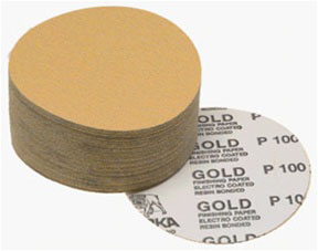 "Mirka Abrasives 5"" 320-Grit 100/Box Gold PSA Autobox Discs MRK-23-388-320"