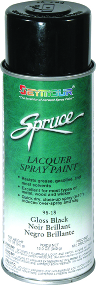 Seymore of Sycamore Gloss Black Lacquer, Aerosol SEY-98-18