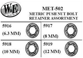 W & E Tools Metric Push Nut Bolt, Retainer Assortment WET-MET502