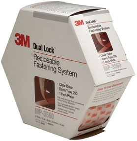 "3M Company Dual Lock™ Reclosable Fastener System 06463 Clear, 1"" x 4.9 yd"