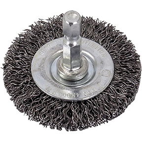 """AES Industries 2"""" Wire Wheel with 1/4"""" Shank - Coarse Wire"""