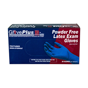 AMMEX GlovePlus HD Blue Latex PF Exam Large Gloves