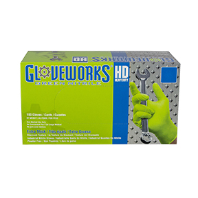 AMMEX Gloveworks HD Green Nitrile PF Ind Large Gloves