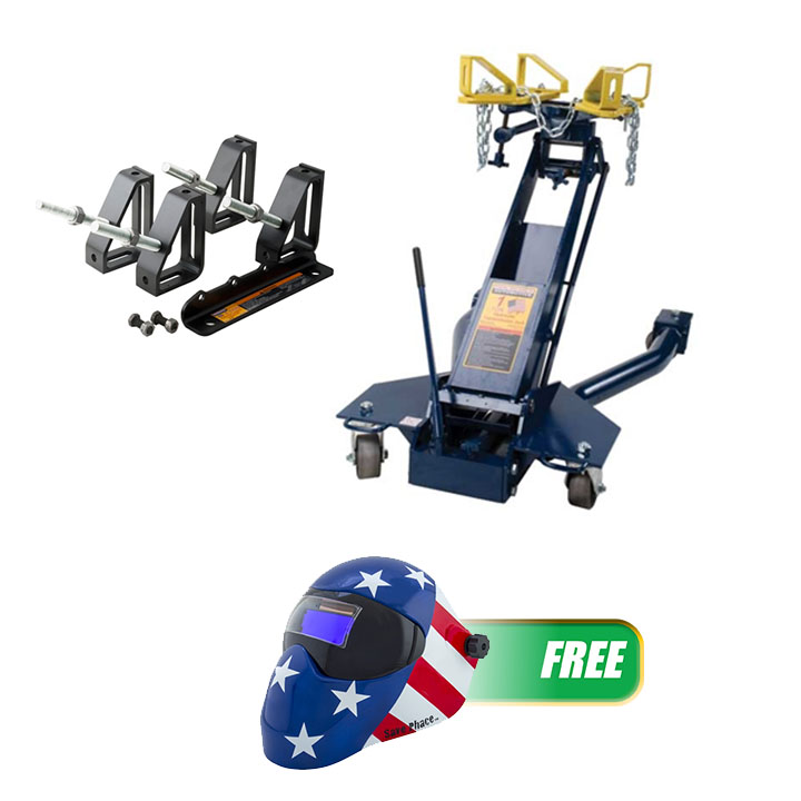 Hein-Werner Automotive 1Ton Hyd Trans Jack & Fuller Trans Adapter Kit w/FREE Welding Helmet, The Patriot